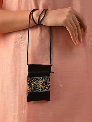 Black Hand Embroidered Velvet Pouch Sling Bag