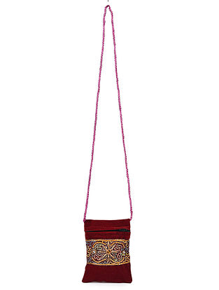 Maroon Hand Embroidered Velvet Pouch Sling Bag