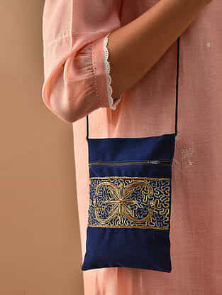 Blue Hand Embroidered Velvet Sling Bag