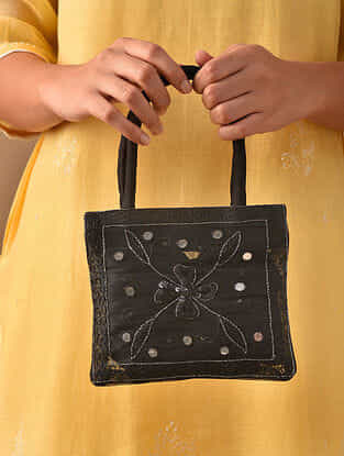 Black Hand Embroidered Rayon Hand Bag