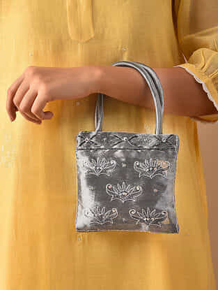 Silver Hand Embroidered Rayon Hand Bag
