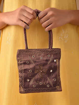 Copper Hand Embroidered Rayon Hand Bag