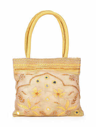 Gold Hand Embroidered Rayon Hand Bag