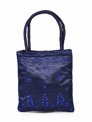 Blue Hand Embroidered Rayon Hand Bag
