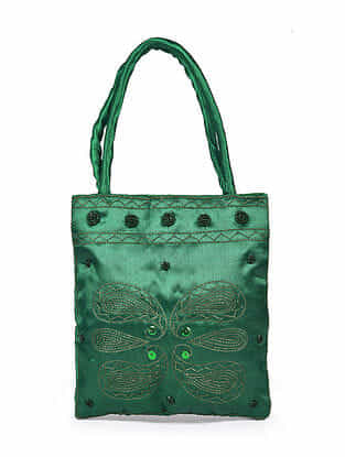 Green Hand Embroidered Rayon Hand Bag
