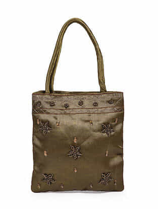 Brown Hand Embroidered Rayon Hand Bag