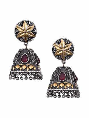 Red Dual Tone Tribal Jhumki Earrings