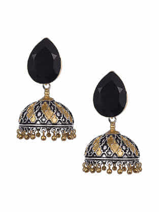 Black Dual Tone Tribal Jhumki Earrings