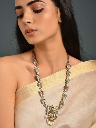 Dual Tone Tribal Necklace With Pearls