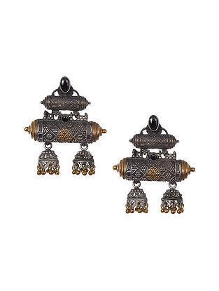 Black Dual Tone Tribal Earrings