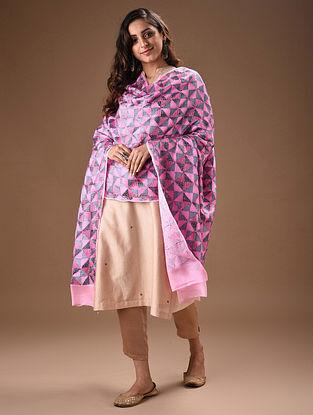 Pink Phulkari Embroidered Chinon-Chiffon Dupatta