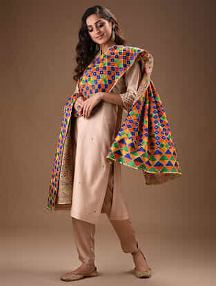 Multicolored Phulkari Embroidered Cotton Dupatta