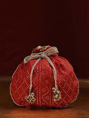 Red Handcrafted Mukaish Work Shantoon Silk Potli