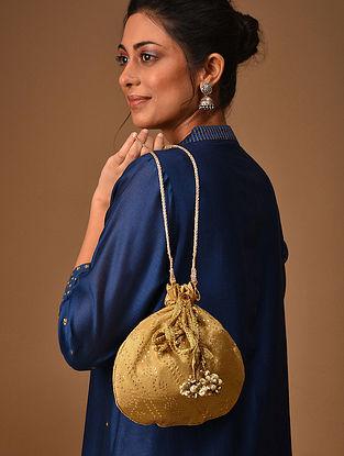 Gold Handcrafted Mukaish Work Shantoon Silk Potli