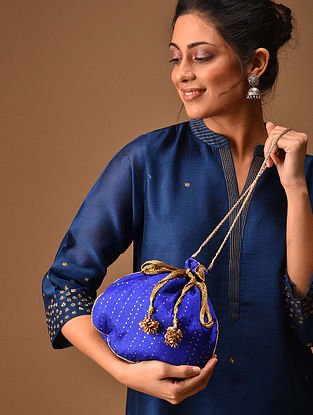 Blue Handcrafted Mukaish Work Shantoon Silk Potli