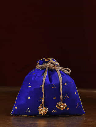 Blue Handcrafted Mukaish Work Shantoon Silk Potli