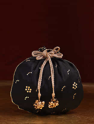 Black Handcrafted Mukaish Work Shantoon Silk Potli