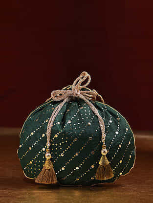 Green Handcrafted Mukaish Work Shantoon Silk Potli