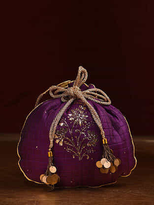 Purple Handcrafted Mukaish Work Shantoon Silk Potli