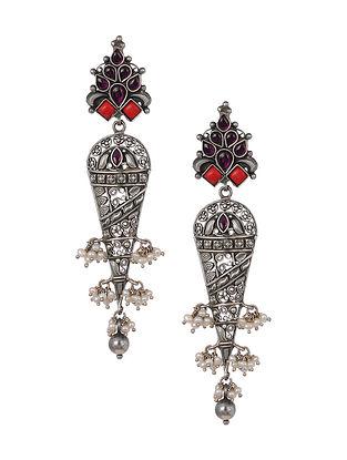 Kempstone Encrusted Tribal Silver Earrings with Pearls
