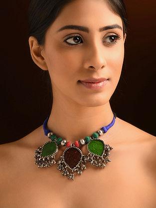 Vintage Glass Silver Necklace