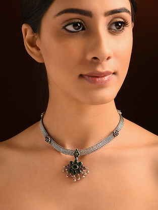 Kempstone Encrusted Tribal Silver Necklace