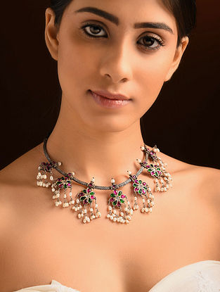 Kempstone Encrusted Tribal Silver Necklace with Pearls