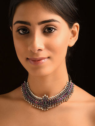Kempstone Encrusted Tribal Silve Necklace with Pearls