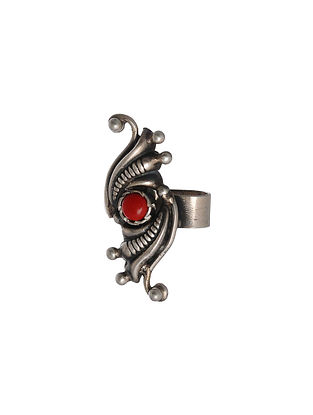 Tribal Silver Ear Cuff with Coral