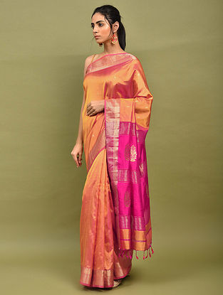 Orange-Pink Handwoven Maheshwari Silk Saree