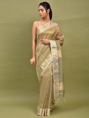 Golden Handwoven Maheshwari Silk Saree