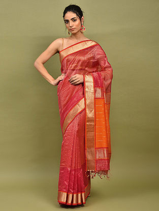 Red Handwoven Maheshwari Silk Saree