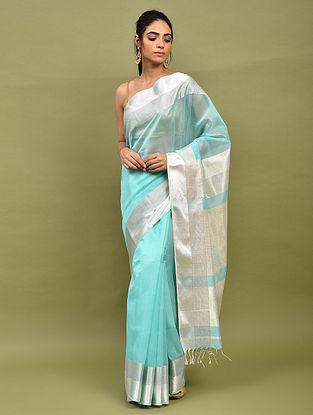 Sky Blue Handwoven Maheshwari Silk Saree