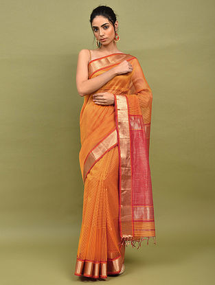 Orange-Red Handwoven Maheshwari Silk Saree
