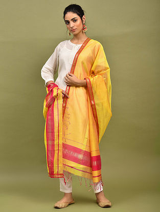 Yellow-Red Handwoven Maheshwari Silk Dupatta