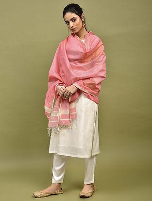 Pink Handwoven Maheshwari Silk Dupatta