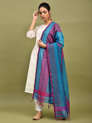 Blue-Purple Handwoven Maheshwari Silk Dupatta