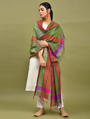 Green-Brown Handwoven Maheshwari Silk Dupatta