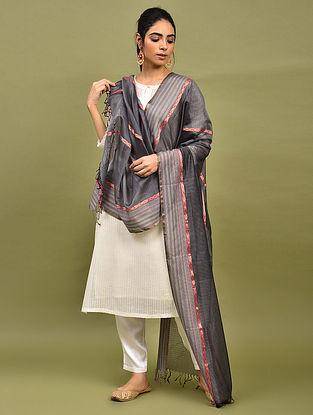 Grey Handwoven Maheshwari Silk Dupatta
