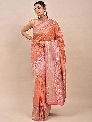 Peach Pink Handwoven Benarasi Silk Saree