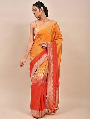 Orange Handwoven Benarasi Silk Saree
