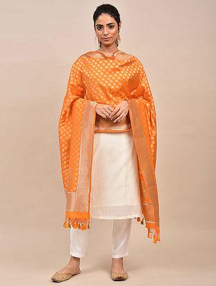 Orange Handwoven Benarasi Silk Dupatta