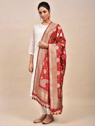 Red Handwoven Benarasi Silk Dupatta