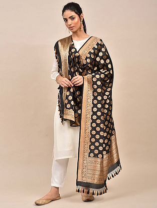 Black Handwoven Benarasi Silk Dupatta