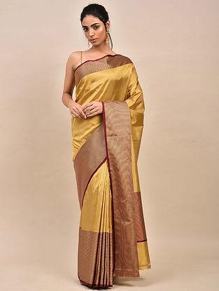 Mustard Handwoven Benarasi Silk Saree