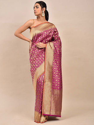 Magenta Handwoven Benarasi Silk Saree