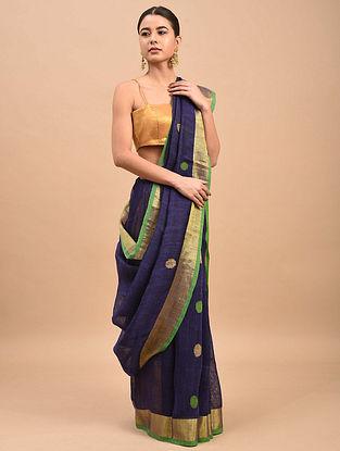 Blue-Green Handwoven Linen Saree