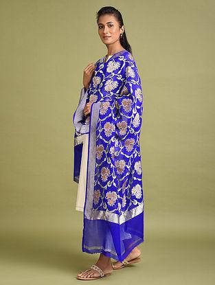 Royal Blue Benarasi Khaddi Georgette Dupatta
