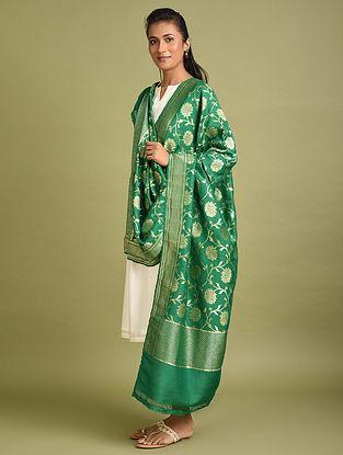 Green Benarasi Khaddi Muga Silk Georgette Dupatta