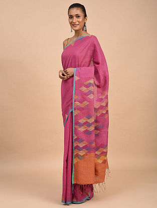 Pink-Orange Handwoven Jamdani Silk Khadi Saree